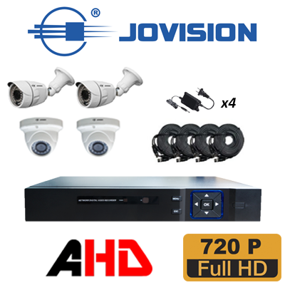 KIT DVR AHD METAL 1080N 4CH P2P/ HDMI-VGA INCLUYE: 02 CAMARA DOMO HD 720P L3.6mm IR 20m 