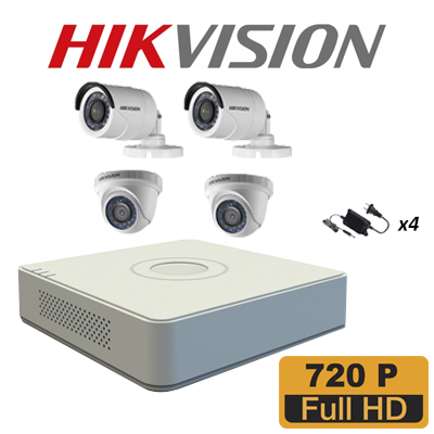 KIT DVR HD 720P- HD-TVI 4CH /HDMI-VGA/P2P 